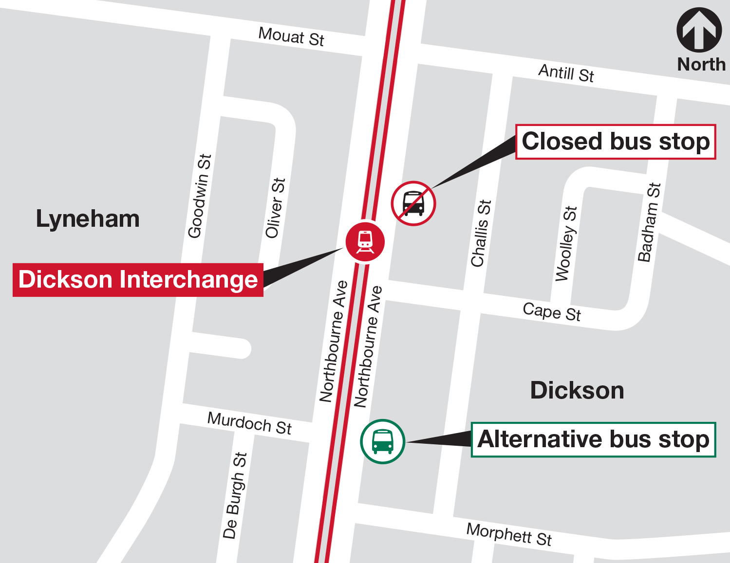 Northbourne Avenue bus stop closure and alternative