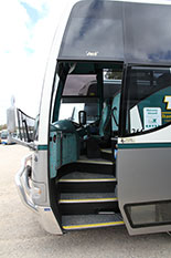 Mercedes Benz stairs on to bus